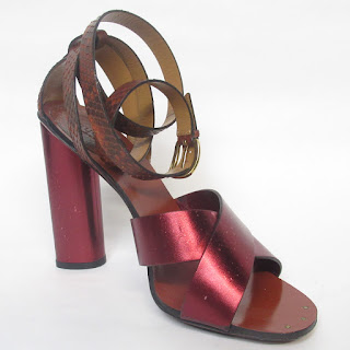 Gucci Python and Metallic Red Ankle-Wrap Sandals