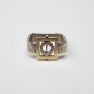 18K Gold & Sterling Geometric Ring