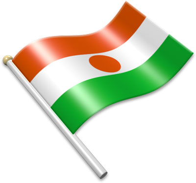 The Nigerien flag on a flagpole clipart image