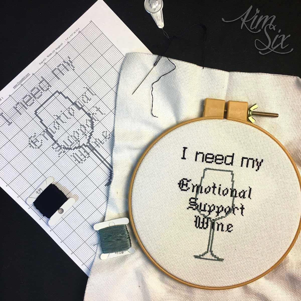 Cross stitch pattern for funny wine