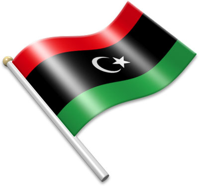 The Libyan flag on a flagpole clipart image