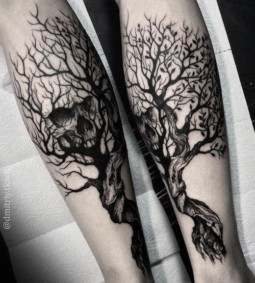 este_blackwork_rvore_e_o_crnio_de_tatuagem