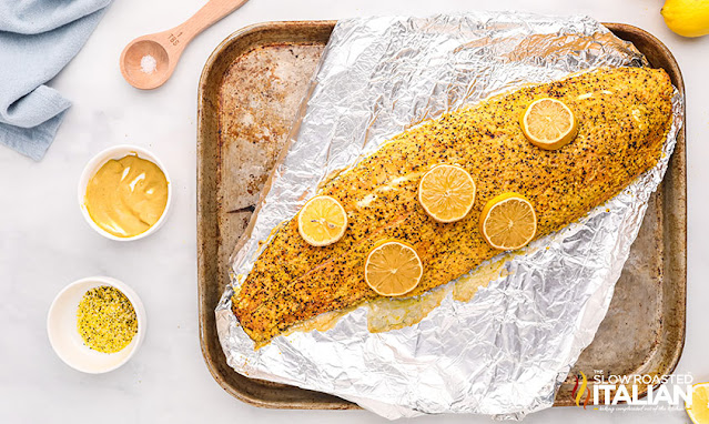 hot smoked salmon on a sheet pan