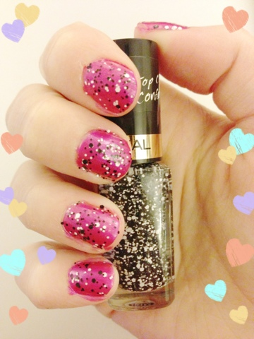 A picture of pink nails with a black and white confetti effect over the top with hearts surrounding the picture