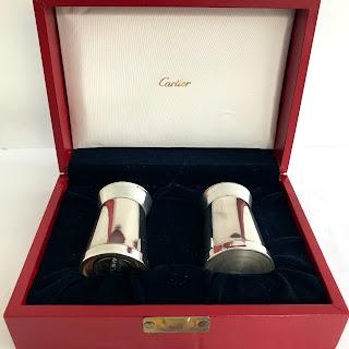 Cartier Sterling Silver Salt Shaker & Pepper Grinder Pair