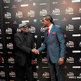 WWW.ENTSIMAGES.COM -  Nathaniel Facey and Ahmad Jamal   arriving   at Jazz FM Awards at One Marylebone road London January 31st 2013                                                      Photo Mobis Photos/OIC 0203 174 1069