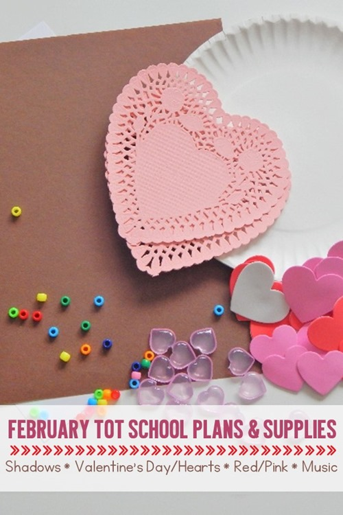These February tot school curriculum plans will help you prepare for an entire month of learning fun with your littlest toddler. Themes include Shadows/Groudhog's Day, Valentine's Day/Heart, Pink/Red, and Music. There are many great toddler learning activities including fine motor activities, gross motor activities, crafts for kids, sensory activities, and fun food ideas. Supplies for the entire month are also included.