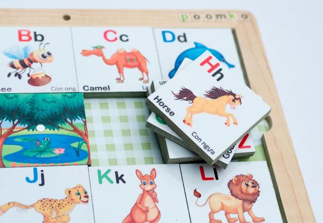 Bộ đồ chơi Bảng chữ cái hình động vật bằng gỗ nam châm thật sinh động hấp dẫn