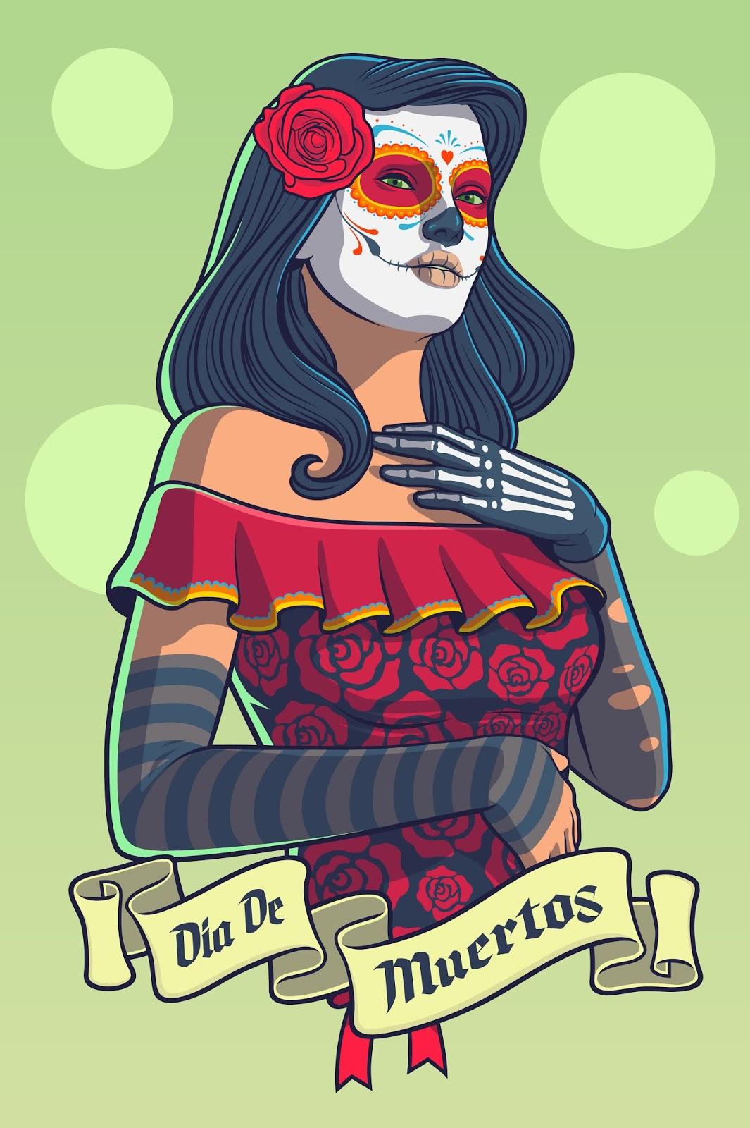 Dia De Los Muertos Lady Catrina Dress Free Download Vector CDR, AI, EPS and PNG Formats