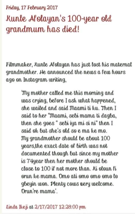 Linda Ikeji Commits Another Grammatical Blunder