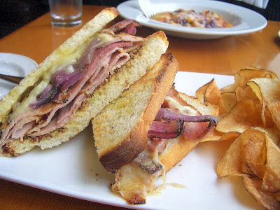 From a Lunch at Wildwood PDX: House cured ham (it was juicy!) and gruyere and grilled onion sandwich with house made potato chips