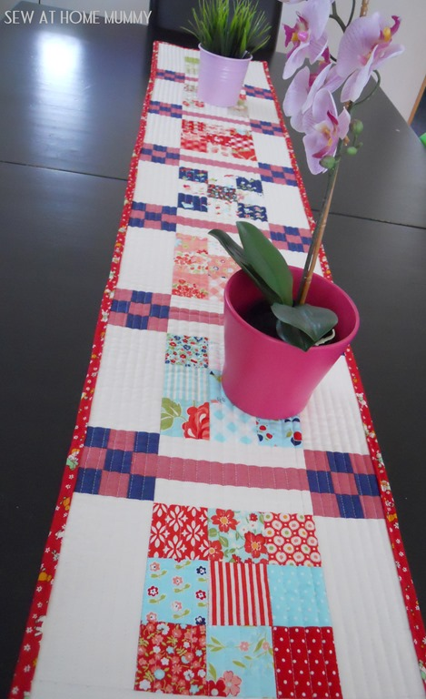 Bonnie and Camille Table Runner Vintage Picnic and Marmalade Scrappy Planner Checkerboard Quilt from Sew at Home Mummy