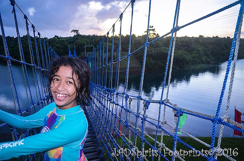 My Daughter and the Hanging Bridge at Caliraya Mountain Lake Resort