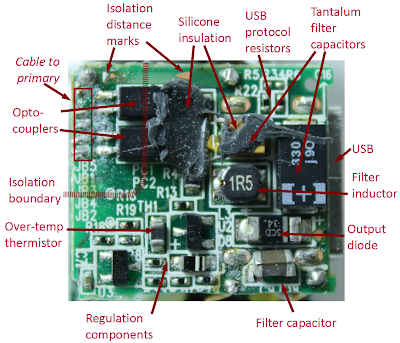 Secondary circuit board from the iPhone charger. Optocouplers are in the upper left. Feedback circuitry is in the lower left. Filter inductor (1R5), capacitor (330), and diode (SCD 34) provide output