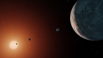 ilustração do sistema TRAPPIST-1 a vista próximo do planeta TRAPPIST-1f