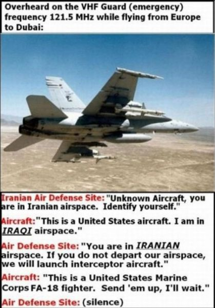 us marine f18 over iran is funny
