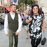 WWW.ENTSIMAGES.COM -    Robin Windsor and Lisa Reilly    leaving    The Design Collective for Evans at The Freemasons Hall, LondonSeptember 16th 2014Show hosted by Arcadia Group owner Sir Philip Green as plus size retailer Evans makes its debut on the London Fashion Week schedule.                                                   Photo Mobis Photos/OIC 0203 174 1069