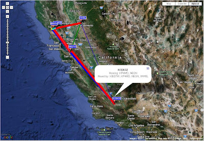 5 July 2012 - Further 144 MHz WSPR contacts established with KC6KGE in Taft, California