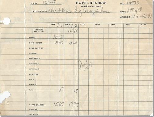 Hotel Benbow Bill