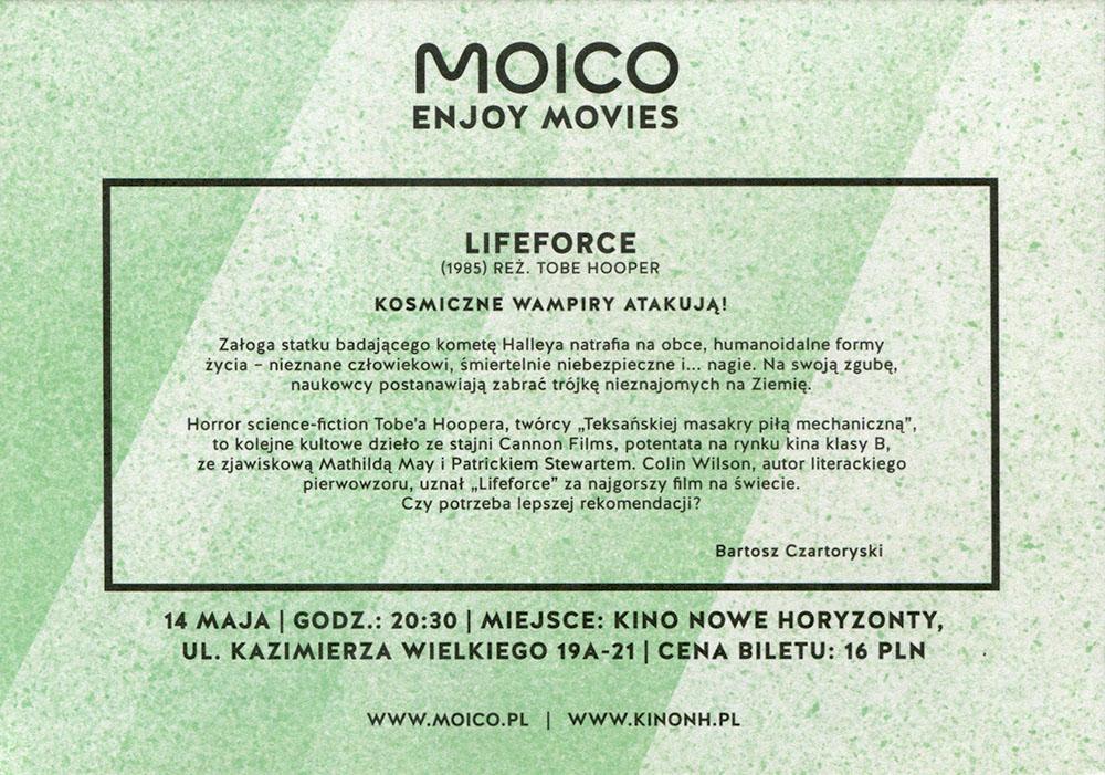 Ulotka filmu 'Lifeforce (tył)'