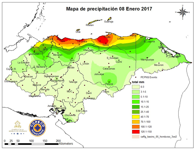 Rain in Honduras, 8 January 2017. Graphic: Copeco