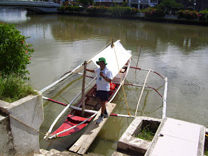 Photo: Getting on a boat to check the Panay River water quality (Nov 24, 2014)