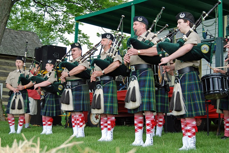 Bagpipes at the Strawberry Festival, Virginia State Parks staff
