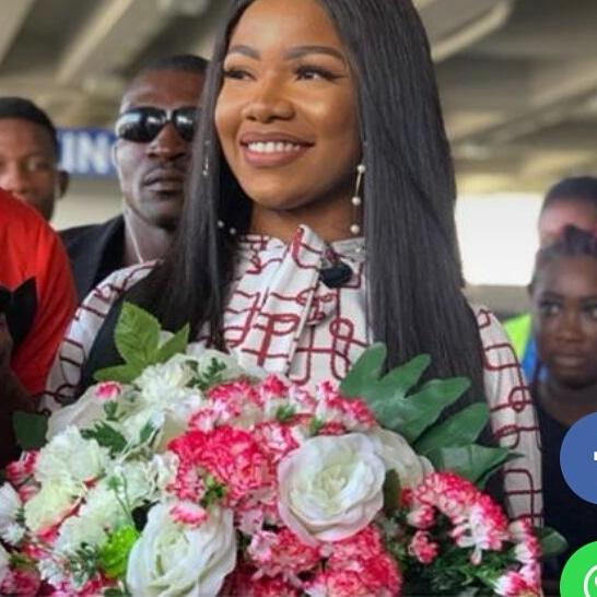 Tacha Arrives Ghana, Gets VIP Reception At The Airport
