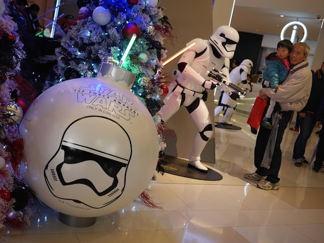 Large Star Wars Christmas tree ornament at the IAPM shopping center in Shanghai