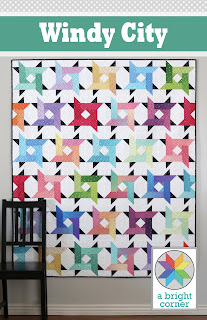 Windy City quilt pattern by Andy of A Bright Corner - precut friendly and great for using jelly rolls, layer cakes, fat quarters, or yardage