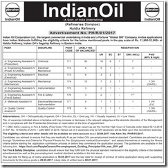 IOCL Haldia Refinery Advertisement 2017 www.indgovtjobs.in