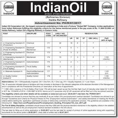IOCL Haldia Refinery Advertisement 2017 www.indgovtjobs.in