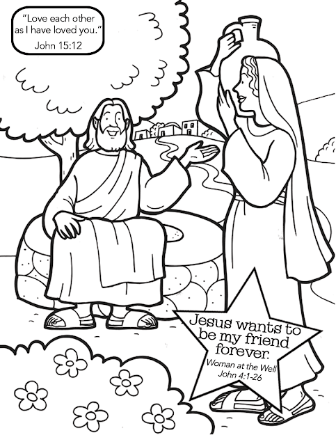 Woman At The Well Printable Coloring Page  Az Coloring Pages