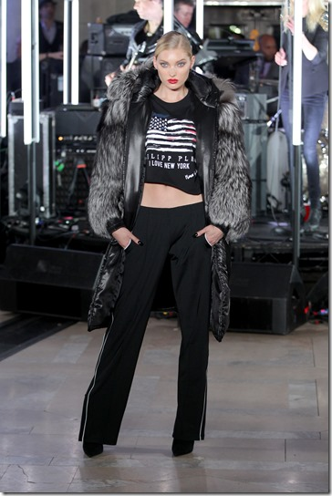 NEW YORK, NY - FEBRUARY 13:  A model walks the runway wearing look # 79 for the Philipp Plein Fall/Winter 2017/2018 Women's And Men's Fashion Show at The New York Public Library on February 13, 2017 in New York City.  (Photo by Thomas Concordia/Getty Images for Philipp Plein)