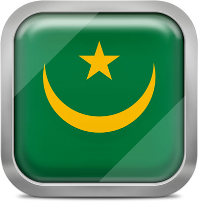 Mauritania square flag with metallic frame