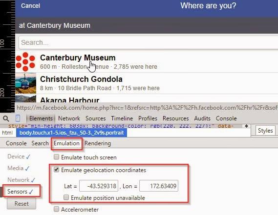 Thiết lập tọa độ ở New Zealand để giả lập địa điểm Check In