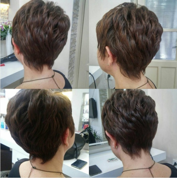 Classic short textured pixie haircut for dark hair