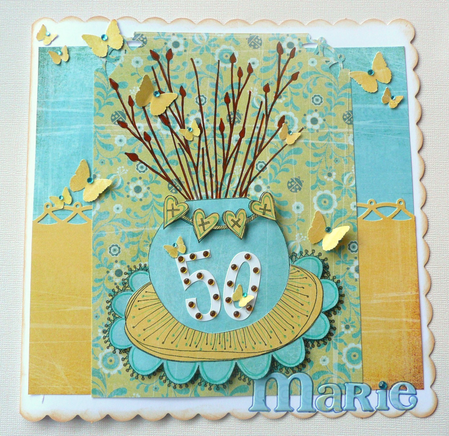 Hope Jacare Designs: Happy 50th Birthday Marie...paper