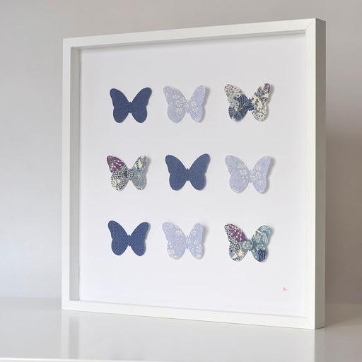 Grand cadre papillons Bleu pois Liberty Mauvey Mille Coquelicots