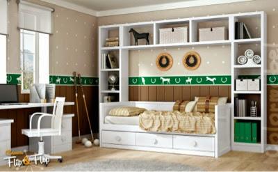 dormitorio que podemos acoplar tanto en una habitacion juvenil con infantilcon puente abierto encima de la cama nido con a cada lado de