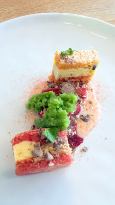 Willow PDX Sixth Course and second dessert plate, rhubarb with buckwheat, milk jam, herb ice, beet meringue cake with buttercream and roasted buckwheat and cacao nibs, basil mint granita on April 30, 2016