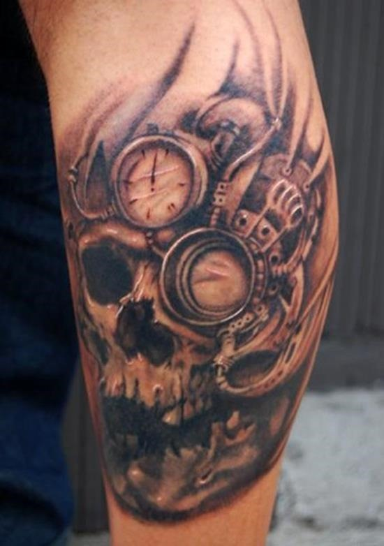 steampunk_crnio_braço_de_tatuagem_para_homens