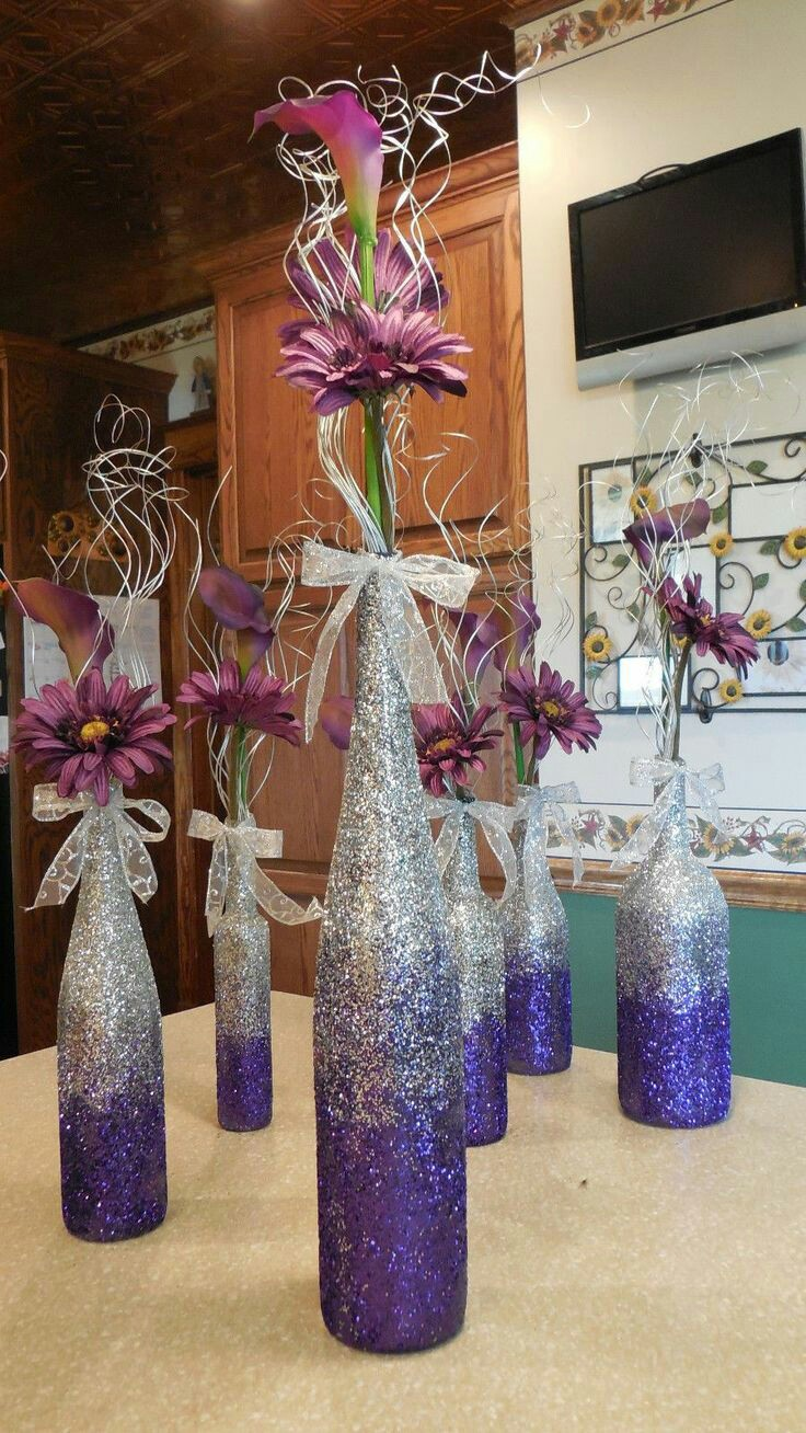 Como Decorar Botellas Con Glitter O Diamantina - Decorar-botellas