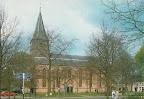 Diever. Hervormde Kerk met rechts Rabobank. Ongelopen.