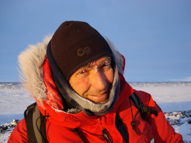 John Priscu at Bratina Island battling frostbite on his cheeks.(photo by J. Mikucki)