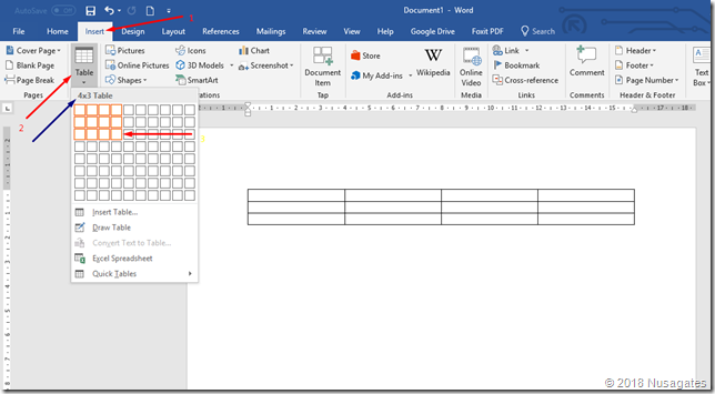 Membuat Tabel di Microsoft Word