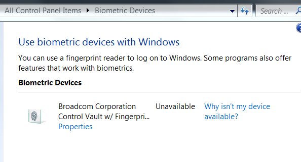 Fingerprint scanner unavailable