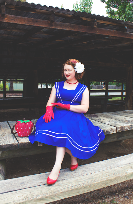 Hearts & Roses Blue Stripe Nautical Dress   Lavender & Twill