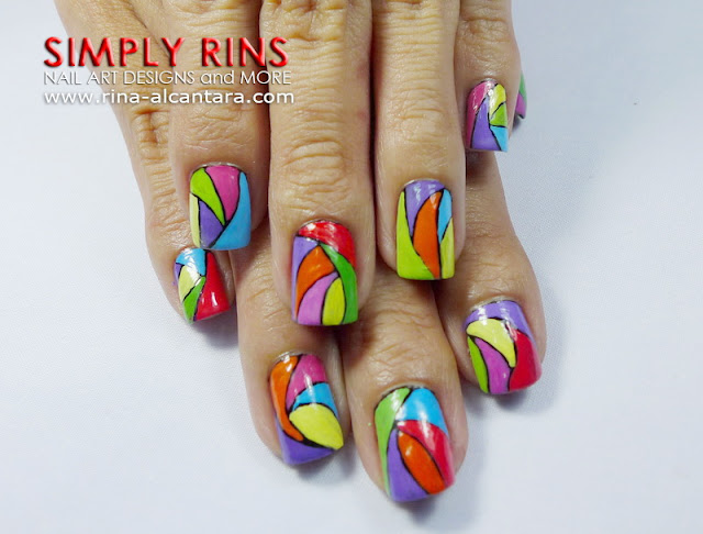 Colorful Abstract Nail Art Design 04