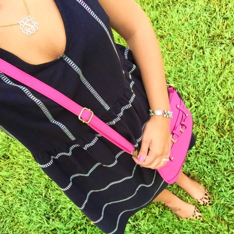 how to add a pop of color, leopard flats, monogram necklace, old navy dress